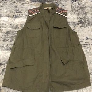 Green Vest with Embroidered Shoulders
